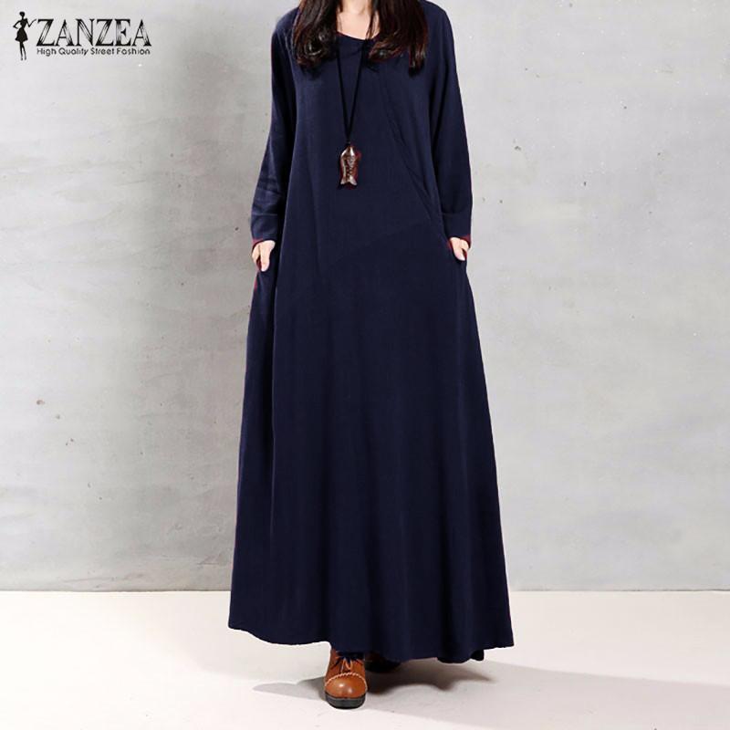 63713769e3c5 ZANZEA Women Muslim Autumn Elegant Retro Dress O Neck Long Sleeve Pockets  Linen Maxi Long Dresses