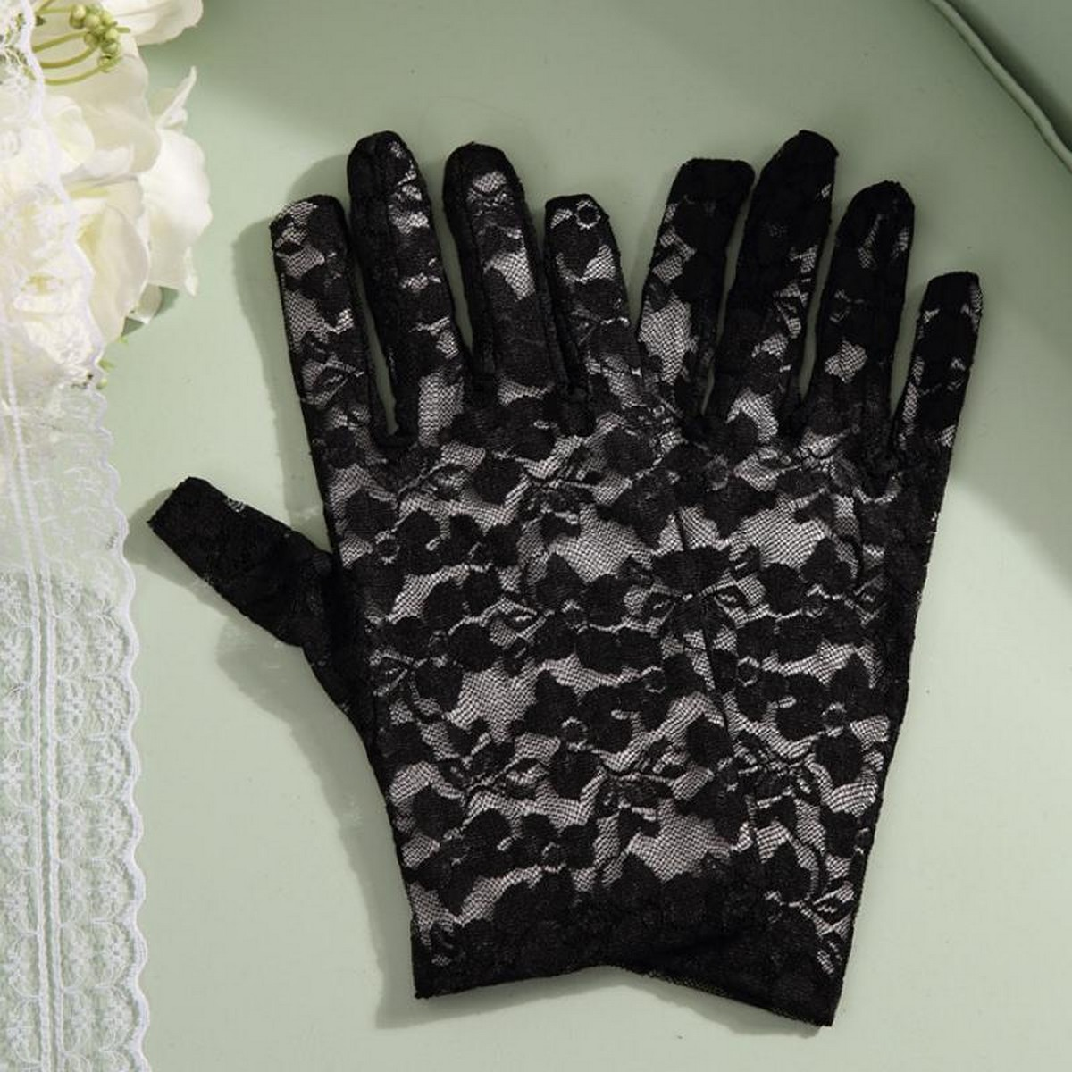 Pack of 2 Floral Lace Gloves Summers Gloves for Women