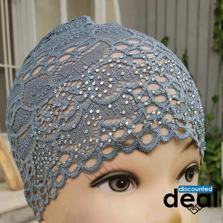 Fancy lace net dark grey Muslim Headscarf Inner Hijab Caps Wraps Women Islamic Under Scarf Ninja Scarf Ramadan Stretch Cotton Bonnet Caps