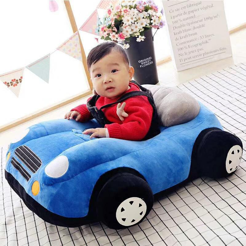 Baby New Car Shaped Baby Support Floor Seat Stuffed Plush Sofa Baby Seats Children Sofa Sitting Learning Training Cushion Baby Carrier Feeding Seater Toddler Nest Puff Cartoon Chair Soft Babies Toys Infants Toddler For 0 - 2 Years