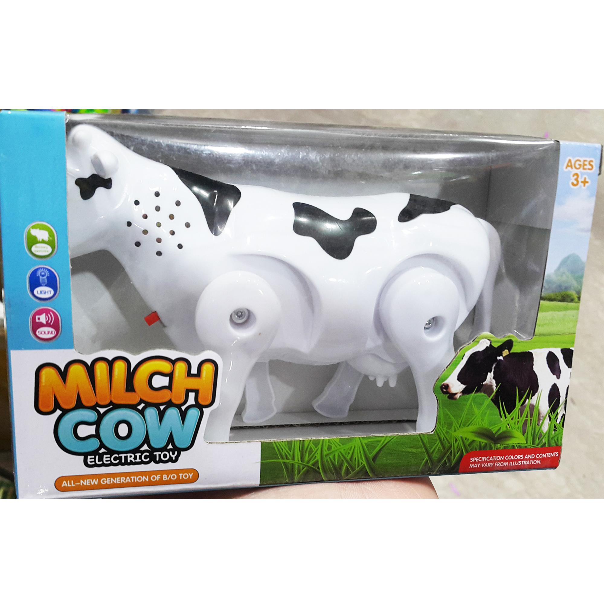 Musical & Lighting Funny Walking Milk Cow Toy - White & Black