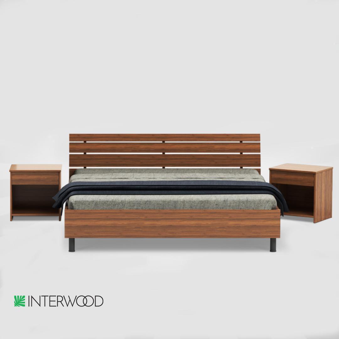 Interwood Cresta Bed Set (1 x King Size Bed + 2 x Side Tables ) (Lahore - Islamabad - Rawalpindi - Karachi Only)