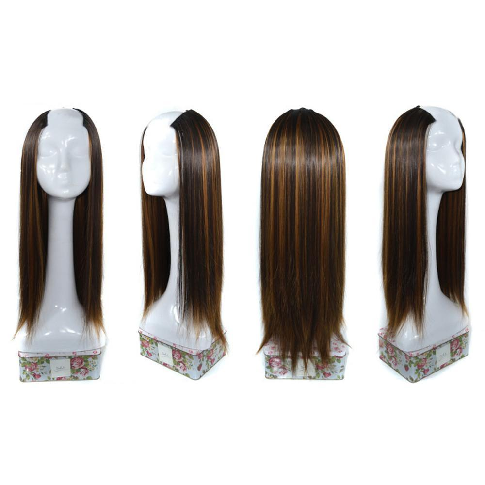 Straight Weft Synthetic Hair U Part Lace Lifelike Human Hair Women Wig