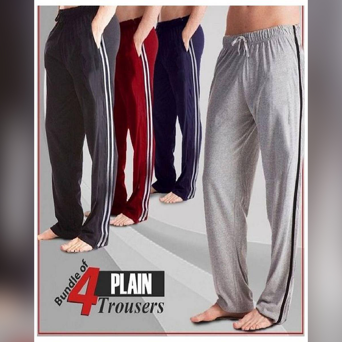 Pack of 4 - Multicolor Cotton Trousers for Men