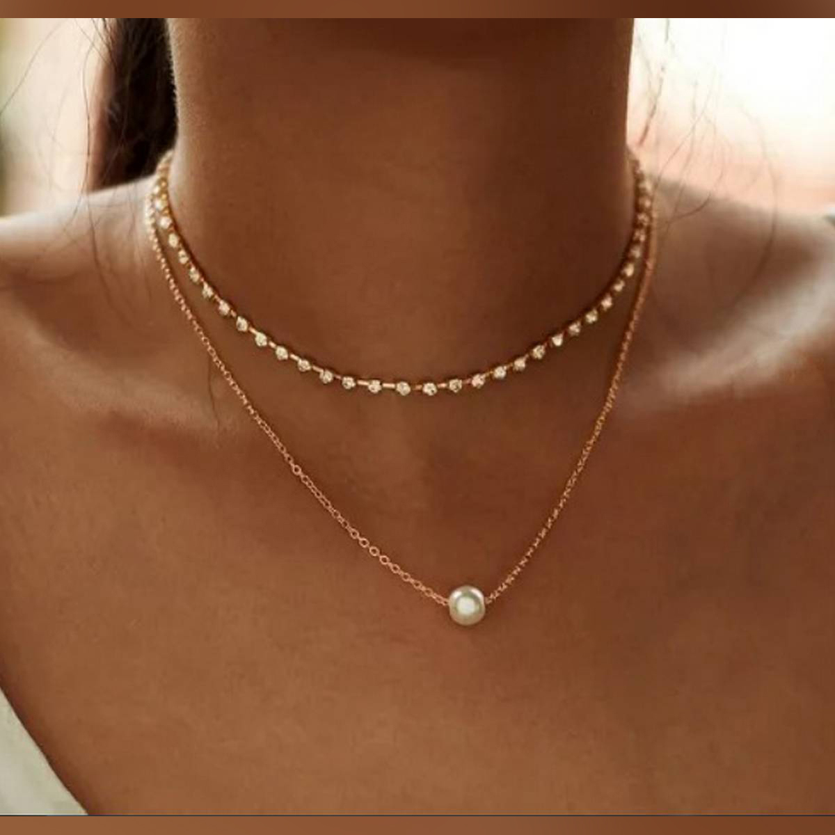Trendy Multi-layer Pearl Pendant Charm Choker Chain Necklace For Girls
