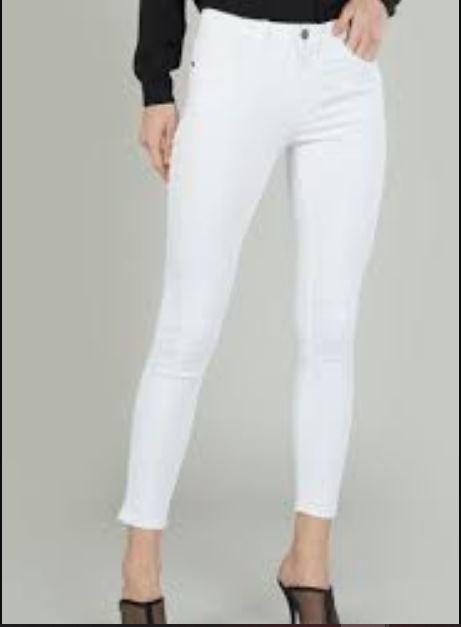 stylish white plain jeans for girls.