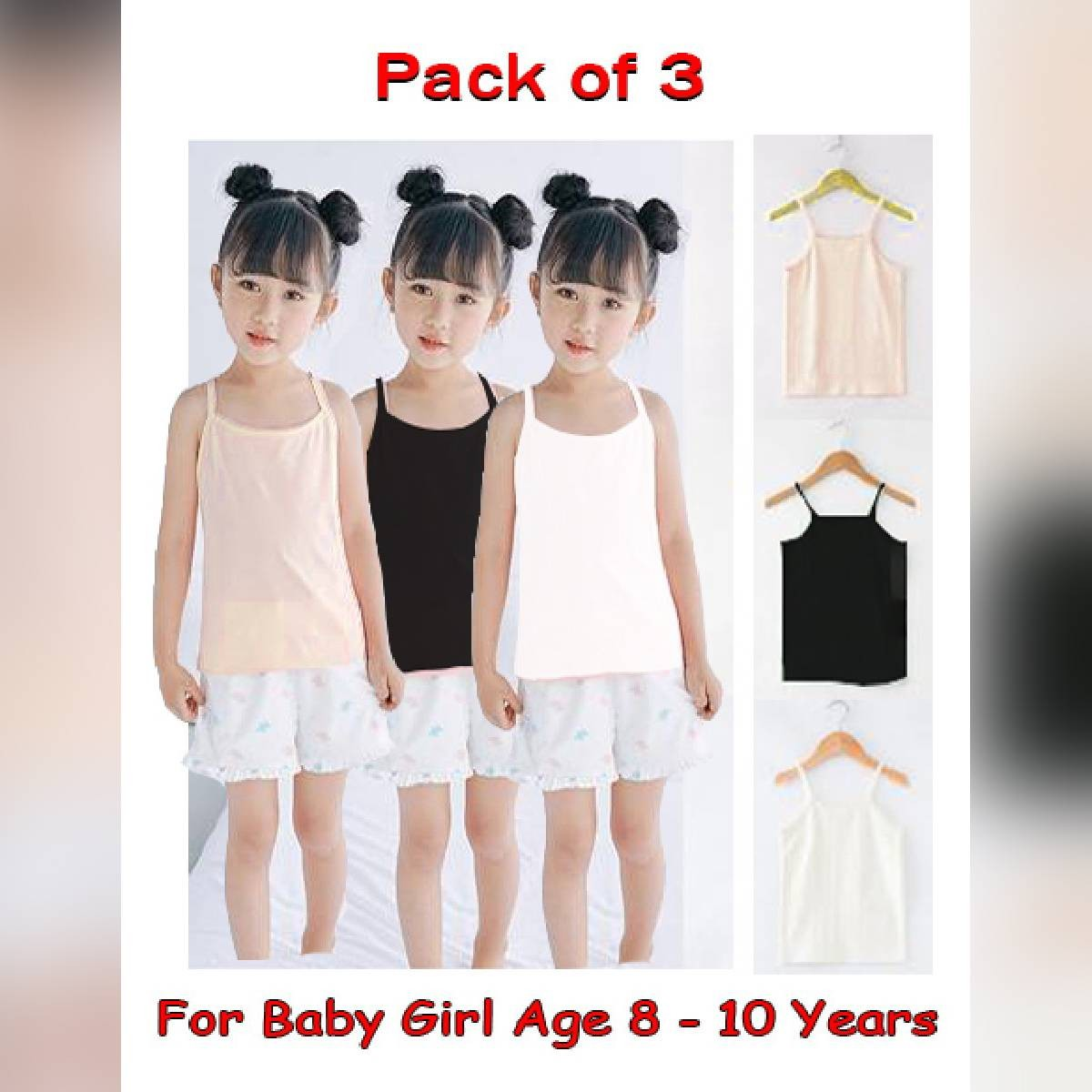 Pack of 3 - Medium Size Camisole / Shameez For Girls Age Between 11 - 14 Years  Length =20  Width = 12
