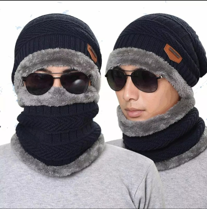 New Stylish Winter Hats, Ladies And Gents Hot Knitted caps and Neck Warmer Mask 2 in 1 Scarf Beanie for Kids, Boys & Girls / UNISEX Double Layer Hat and Neck Warmer For Mens And Womens.