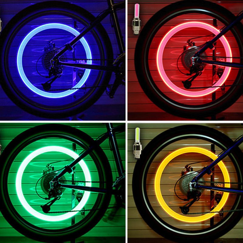 Wheel Spokes Motion Activated LED Flash Tyre Wheel Valve Cycle Bike Glow In The Dark Car Cap Motion Running Sensor Activated Wheel Spokes Neon LED Light- Pack of 2
