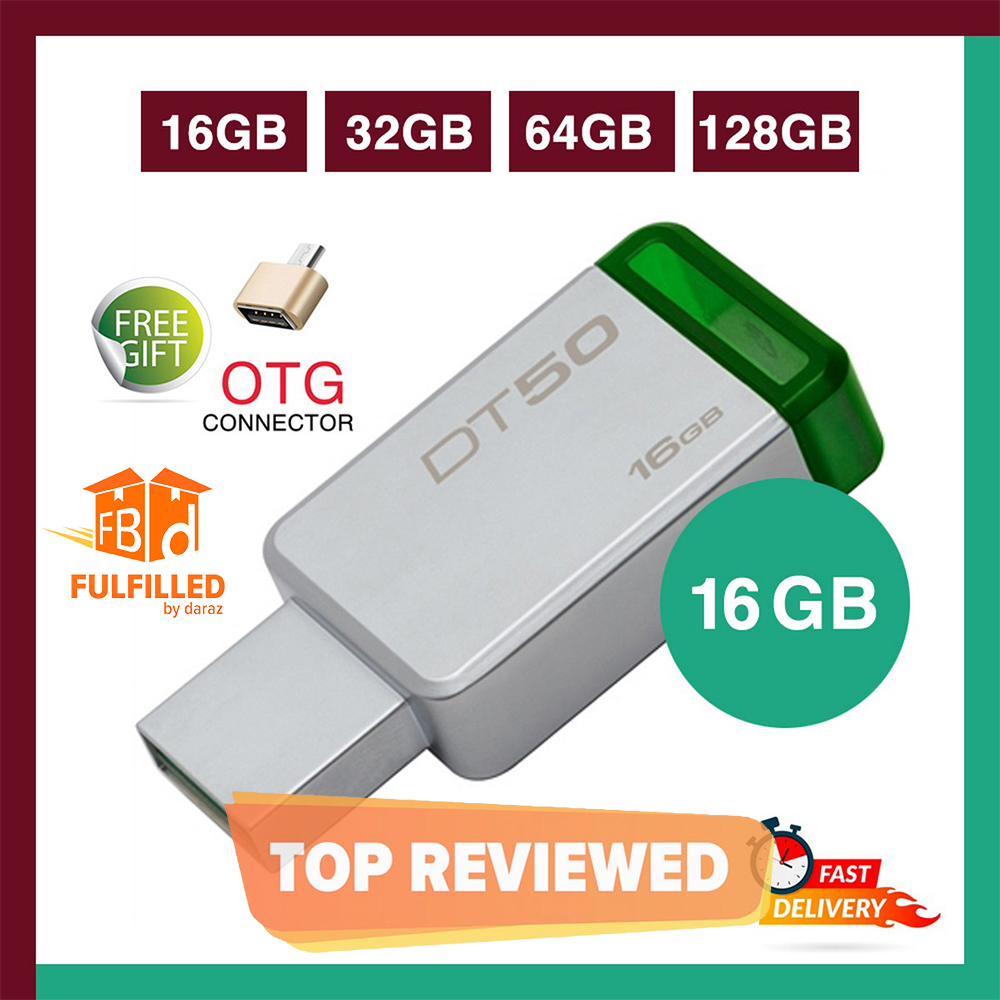 Kingston 16/32/64/128 GB Data Traveler DT50 High Speed 3.1 Flash Memory Stick USB Drive + FREE OTG adapter - 6 Months WARRANTY