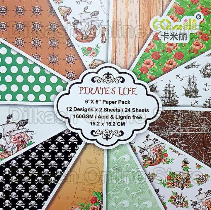 Scrapbook Paper Craft Pattern 6×6 Inches – Pattern Paper – Pirates Life
