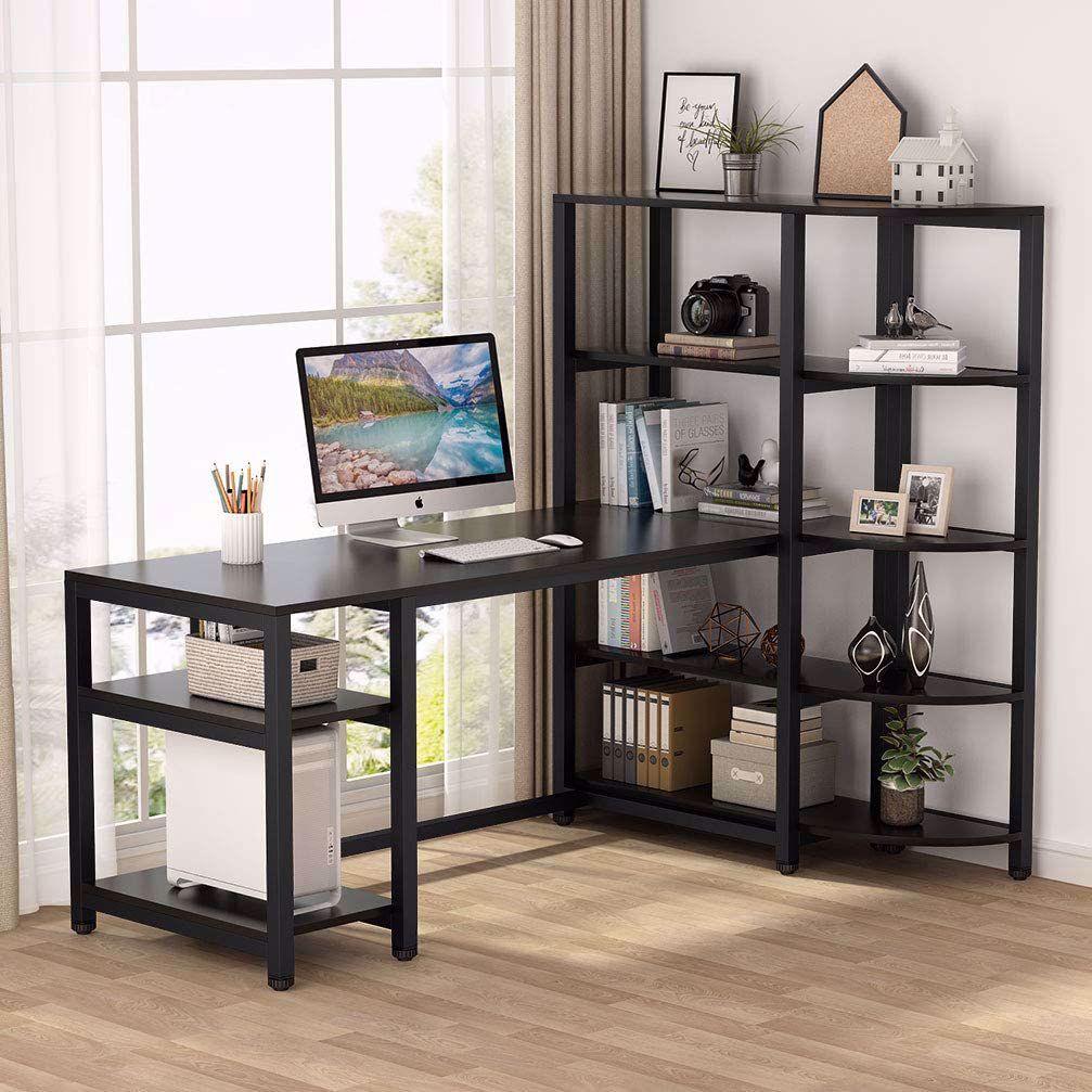 Industrial Computer Desk with 5 Tier Storage Shelves 60 inch Large Office Desk