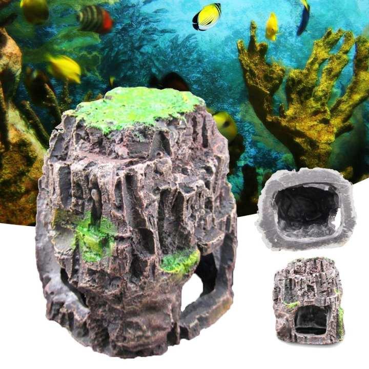 Aquarium Fish Tank Ornament Rockery Hiding Cave Landscape Underwater Decoration