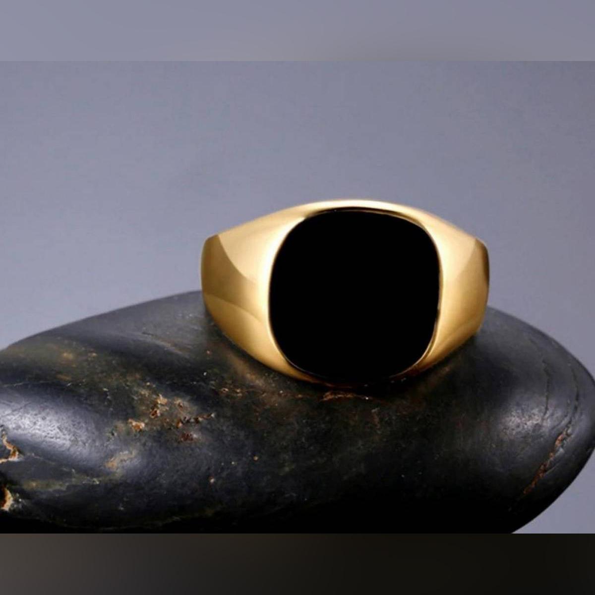 Men's Ring Stainless Steel Black Yellow Golden Engagement Wedding Ring Men'S Ring