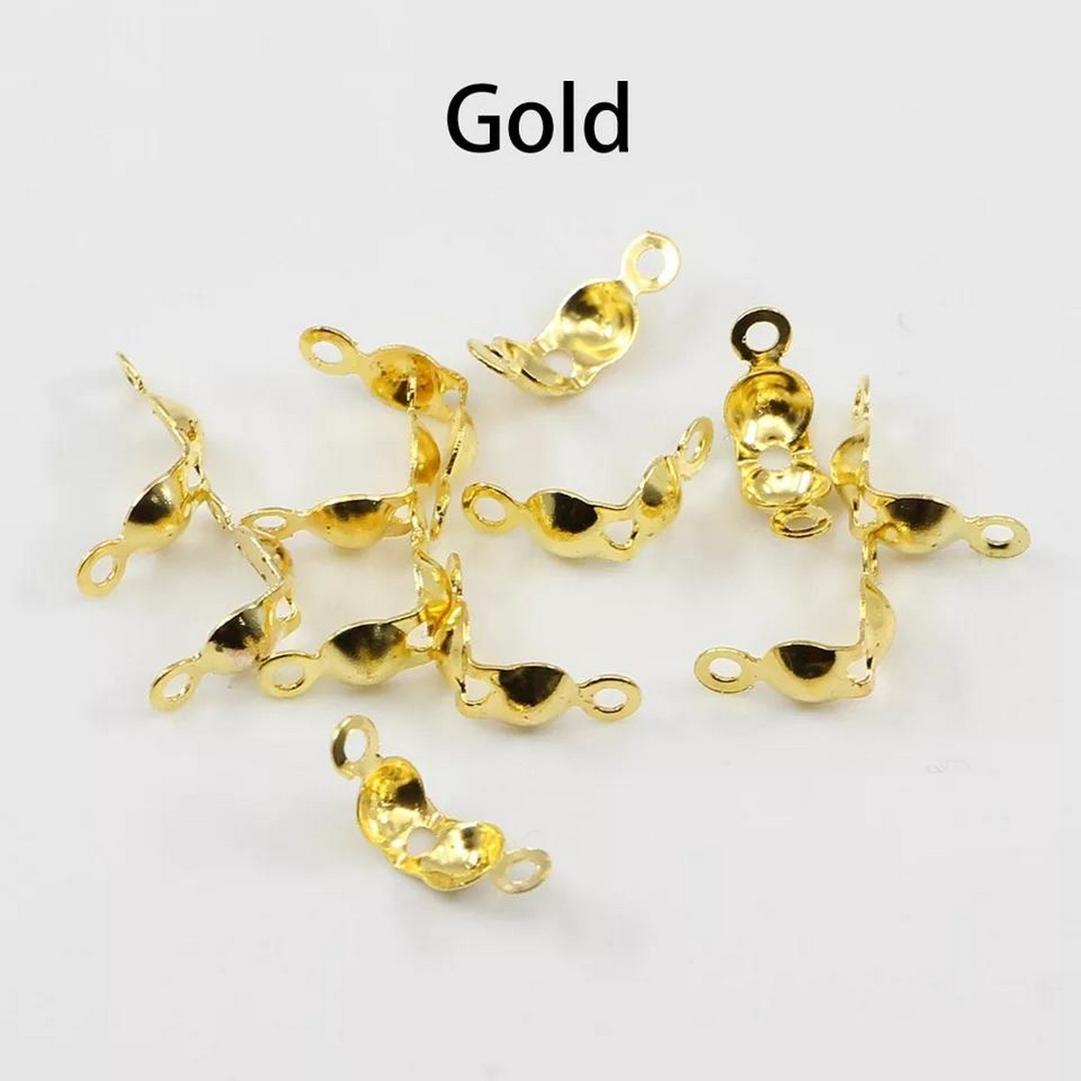 【Gold Connector Clasp】25pcs/lot Connector Clasp Fitting 4*7mm Ball Chain Calotte End Crimps Beads Connector Components For DIY Jewelry Making Supplie Fashionate.