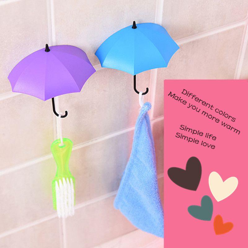 3Pcs Umbrella Hook self-adhesive hook wall door clothing hanger key debris hook bathroom kitchen sticky rack