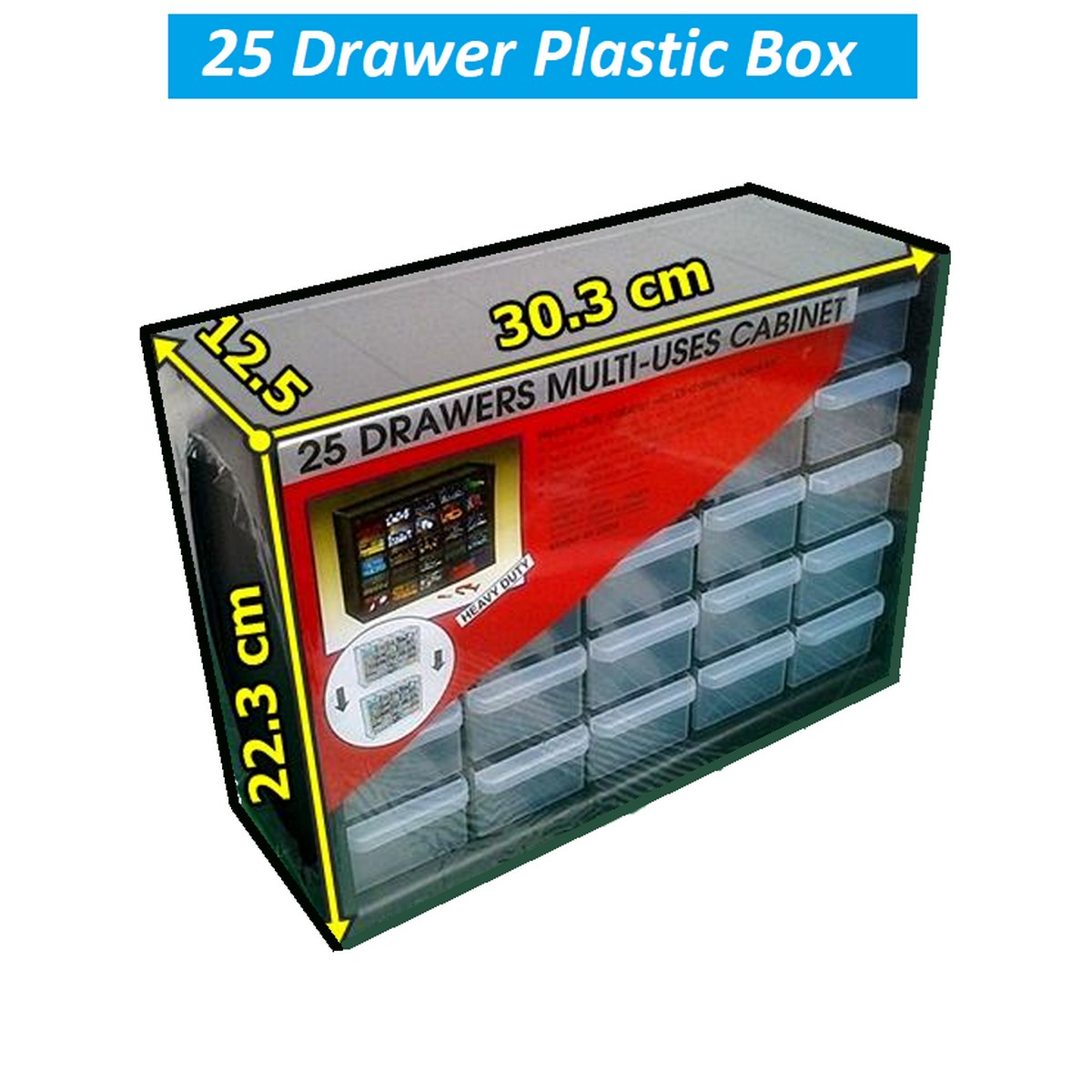 25 Drawer Transparent Plastic Cabinet Box for IC Component Electronic Components or Jewelry