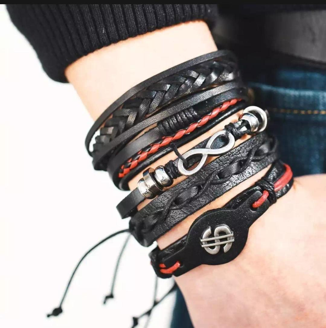 Stylish Imported  Multilayer Handmade European Leather Bracelet Charms Beads for Men Women Unisex Punk Wrist Hand Bands ( With 2 free Bracelets )