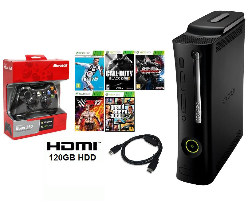 XBOX 360 2007 HDMI JTAG with 5 Games, 1 Wired Controller