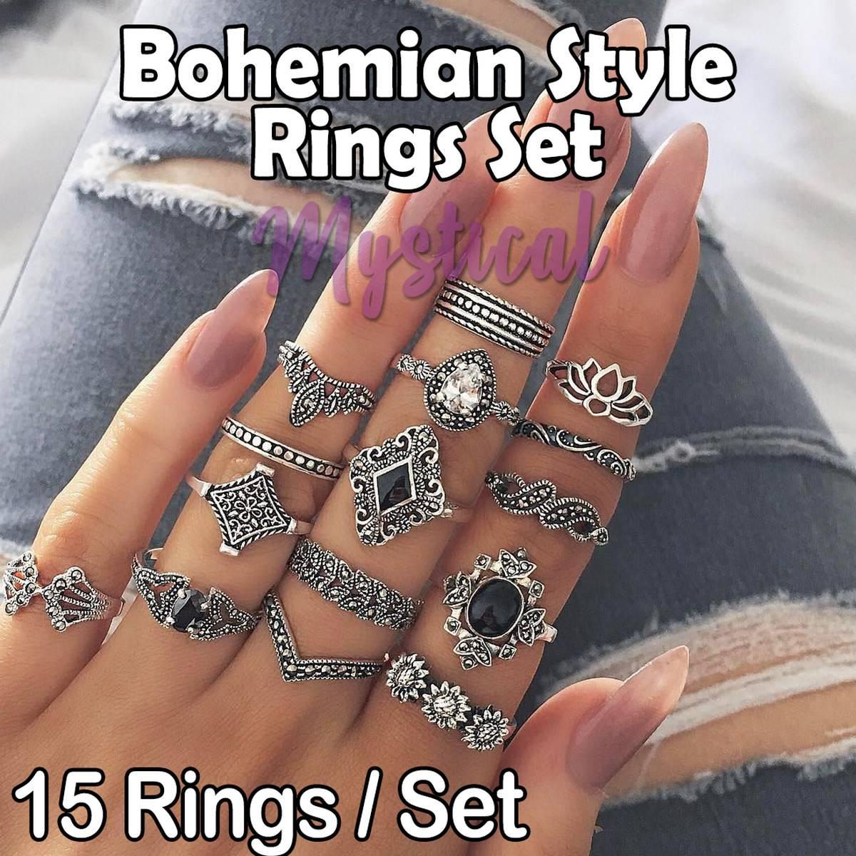 15 Rings Set for Girls - Bohemian Style Rings Set - Vintage Ring Set - Silver Plated Rings Set - Rings Set for Women