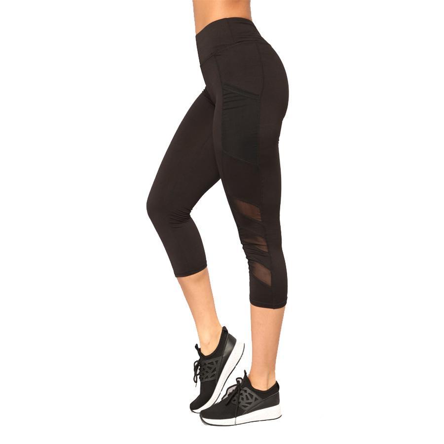 Ladies womens girls Capri YOGA Workout Running Gym Sport Pants 3/4 Lycra Tights Stretchable Legging InnerWear Fitness
