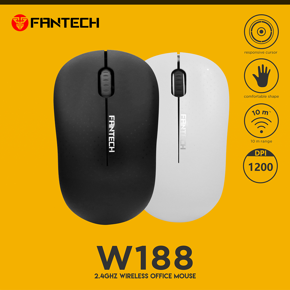 FANTECH W188 Wireless Office Mouse 1200 DPI 10M Range USB Reliable With Responsive Cursor For Pc Laptop