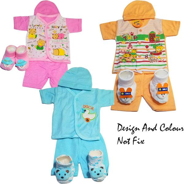 Pack of 2 Born Baby Cloth and shoes - Color and Design Not Fix