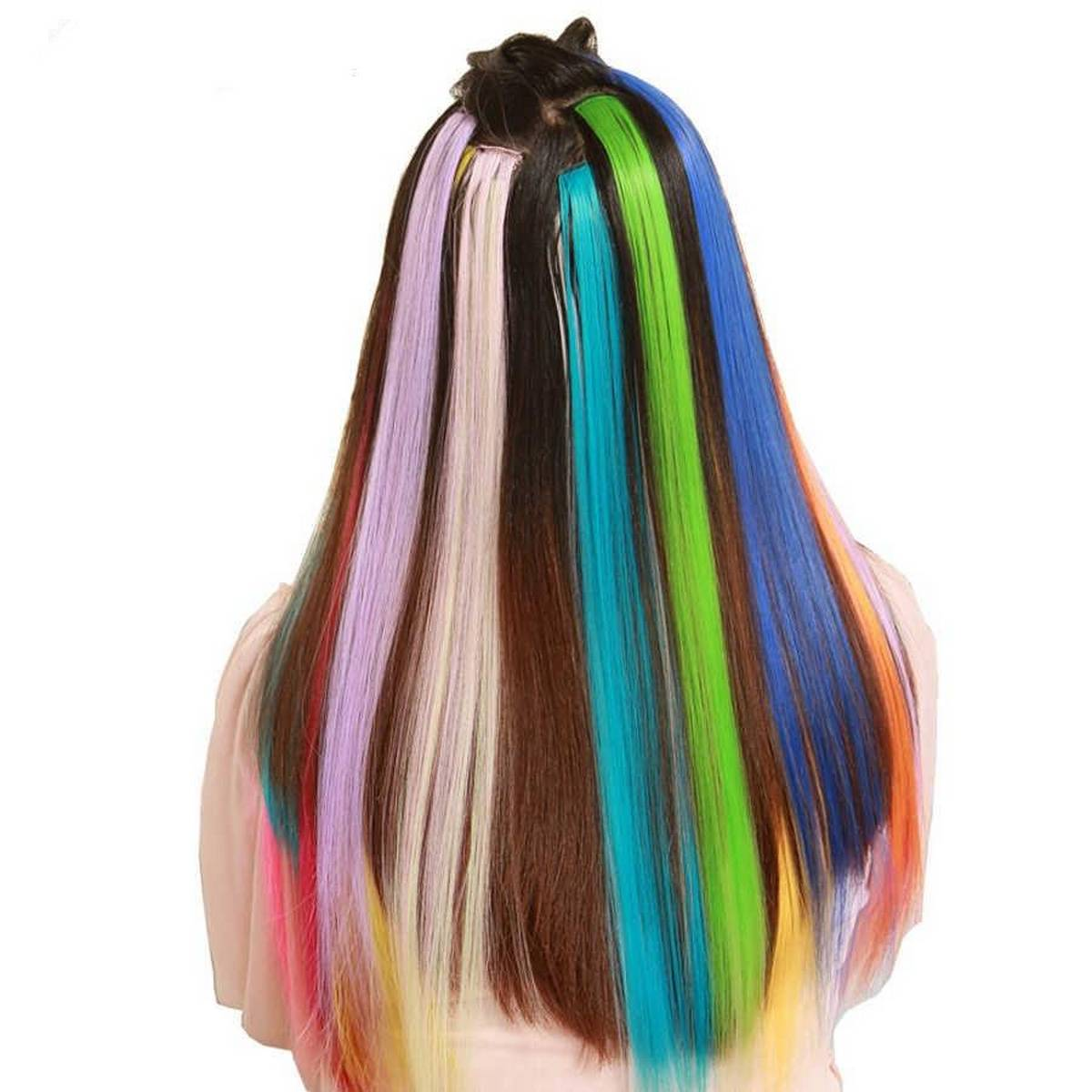 """pac of 6 -Colored Highlight Synthetic Hair Extensions Clip In One Piece Color Strips 20"""" Long Straight Hairpiece For Sports Fans"""