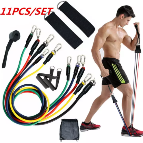 11PC PCS Resistance Bands Set with Fitness Tubes Fitness Exercise Resistance Bands Set Men Women, Fitness Stretch Workout Bands Foam Handles, Ankle Straps, Door Anchor for Home Gym Fitness, Physical Therapy