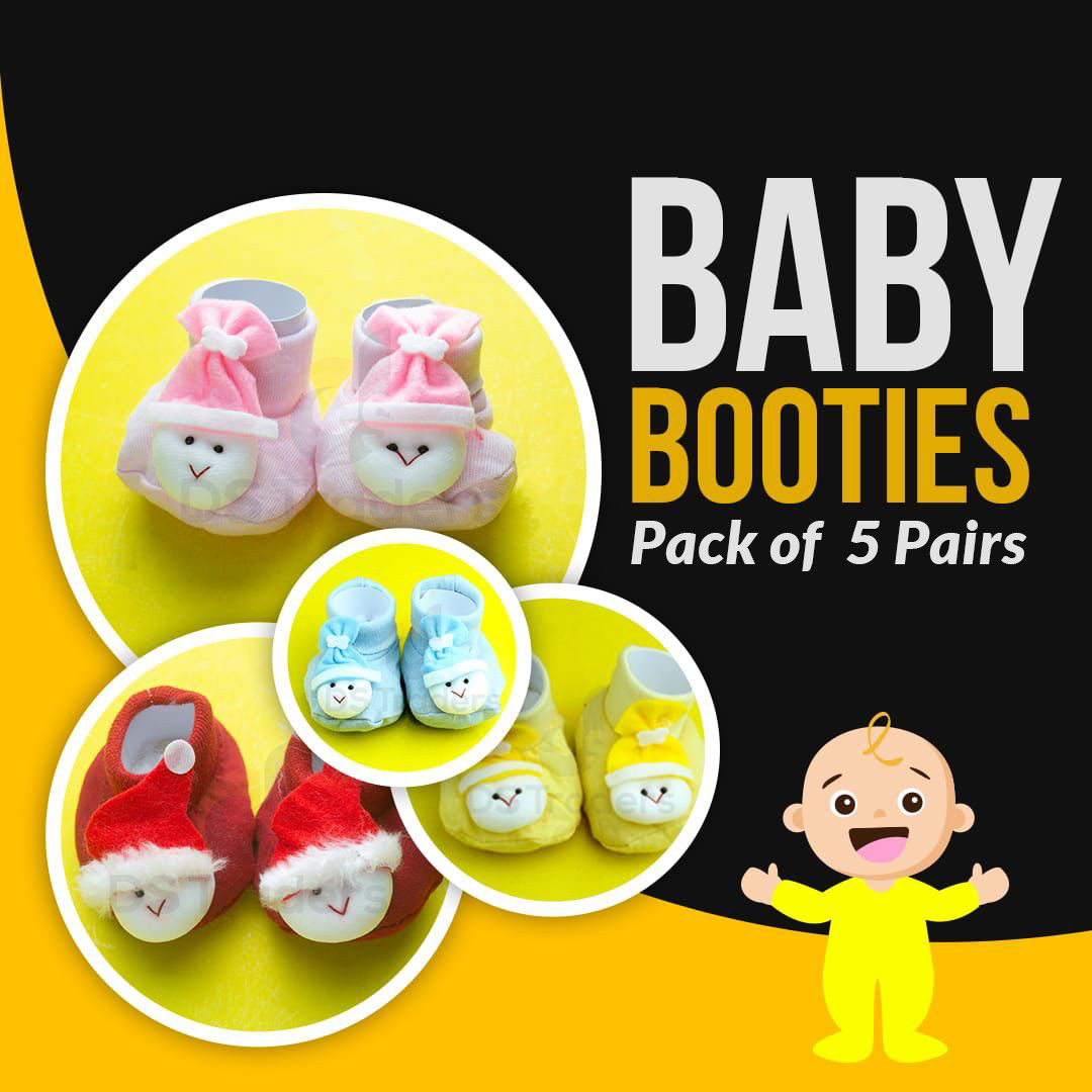 Pack of 5 -  Baby 2 in 1 Socks Shoes / kids Toddlers Booties 0 - 12 month - Multicolour