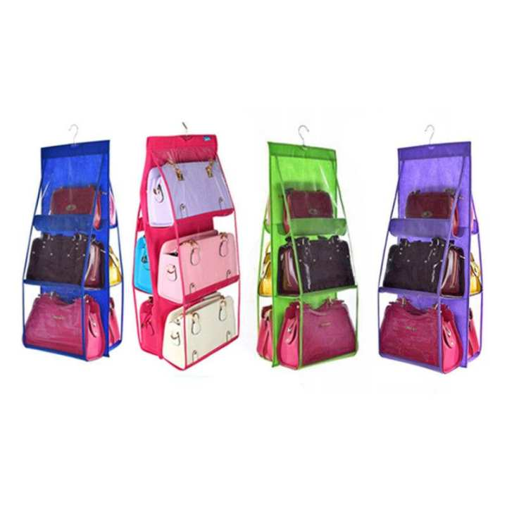 6 Pockets Hanging Storage Bag Purse Handbag Storage Organizer Hangers