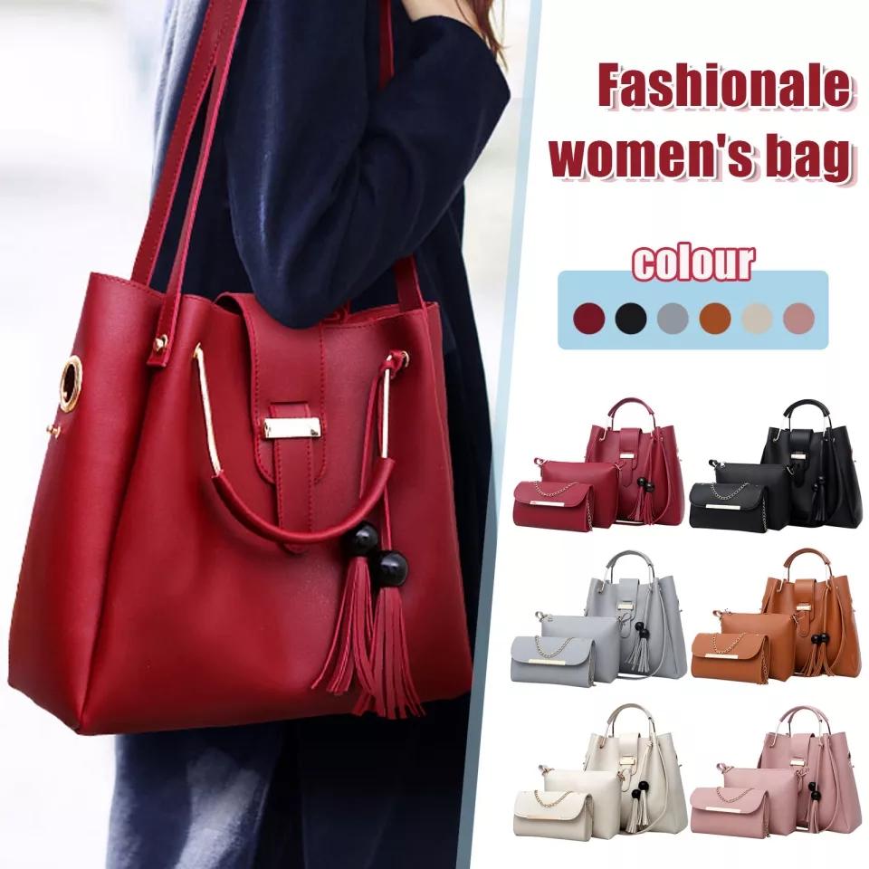 Leather Shoulder Messenger Bag For Female Tote Bag Bolsa 3pcs/Set Women Composite Bag High Quality Ladies Handbag Female Set Bag