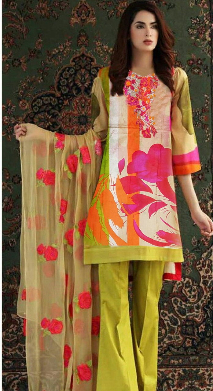 3 Piece Unstitched Lawn Ladies Summer Suit Latest Collection