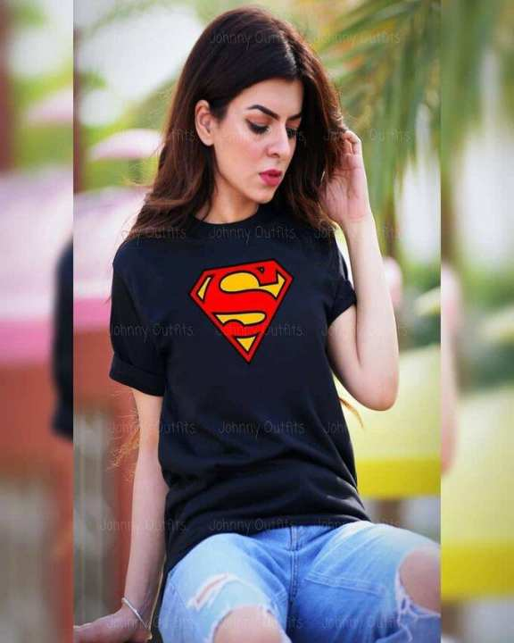 Blue Superman Print T-shirt For Her