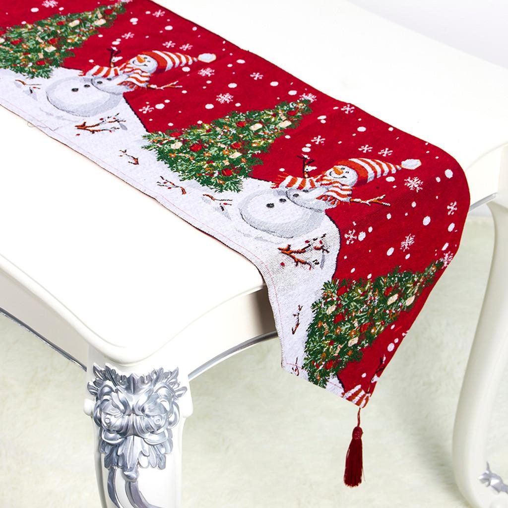 Creative Christmas Cloth Polyester Cotton Printed Table Flag Table Decorations