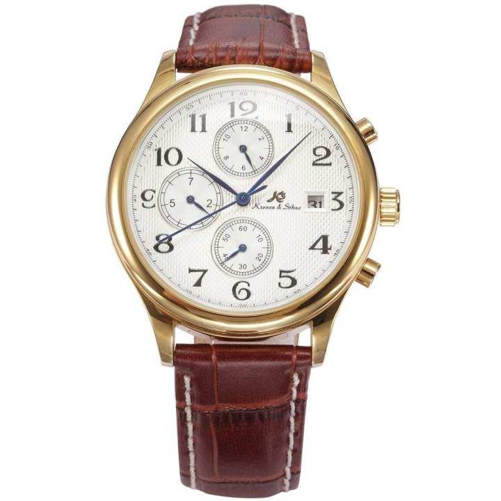 Men Women 6 Pin High Class Soft Leather Strap Big Round Dial Mechanical Watch