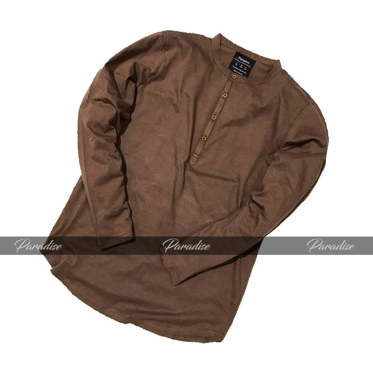 Long Sleeves Henly Brown Tshirts For Men