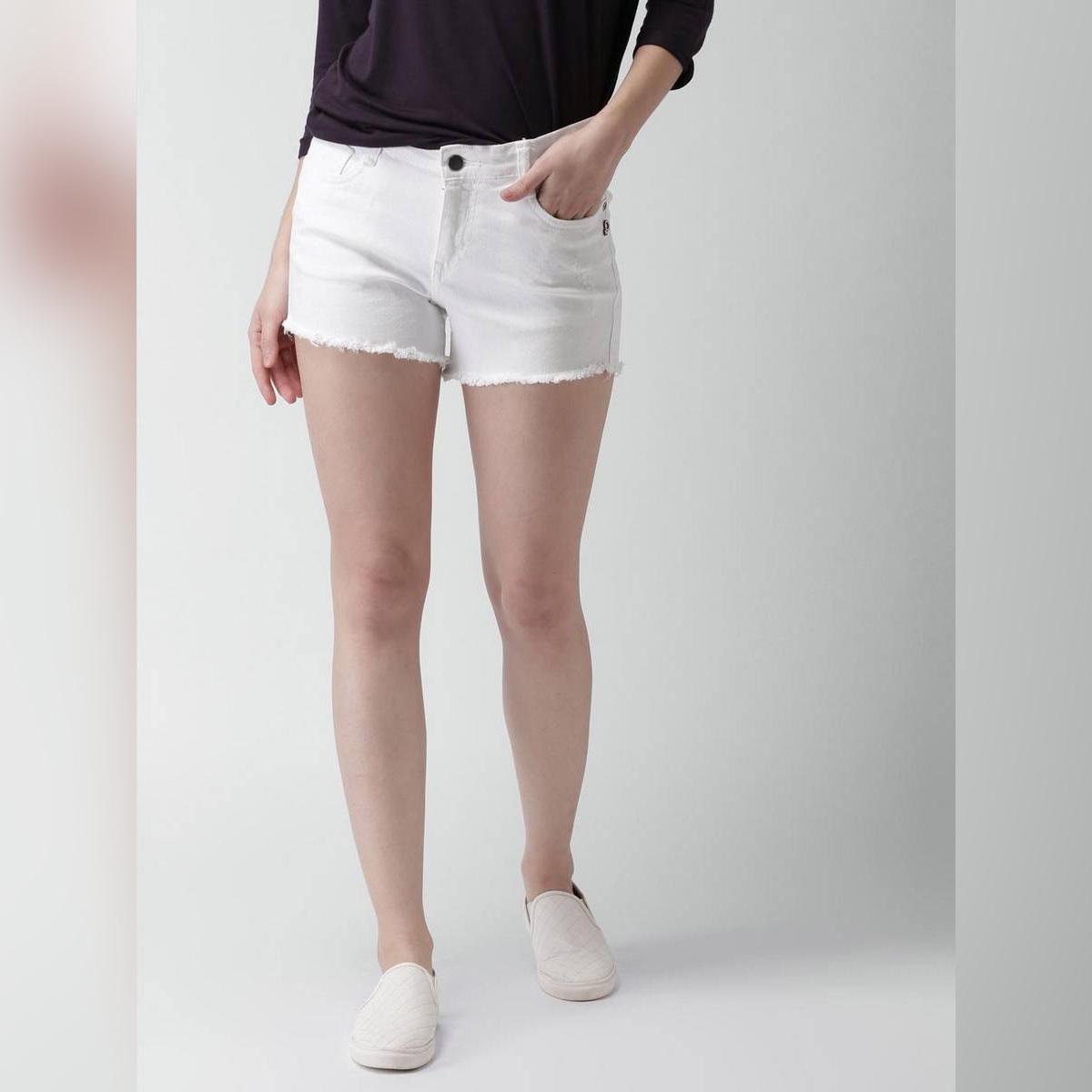 Sumera's Collection White Mini Denim Shorts For Women