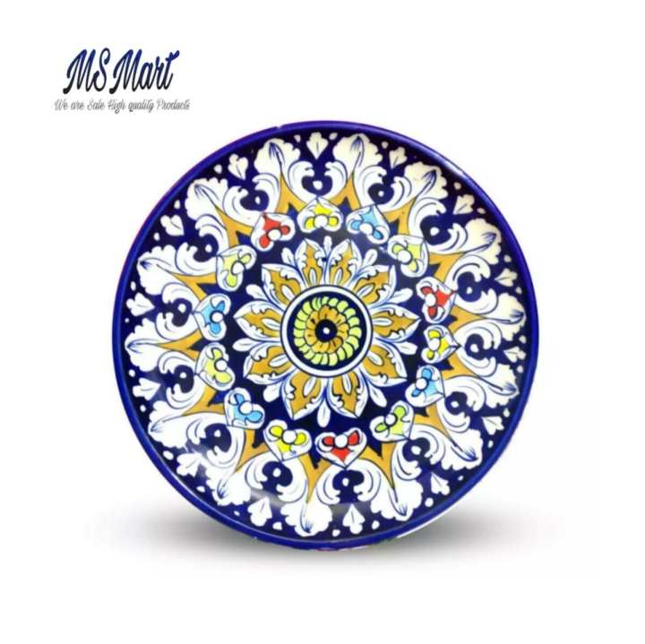 Blue pottery Veronica Multi plate large Round Hand Crafted