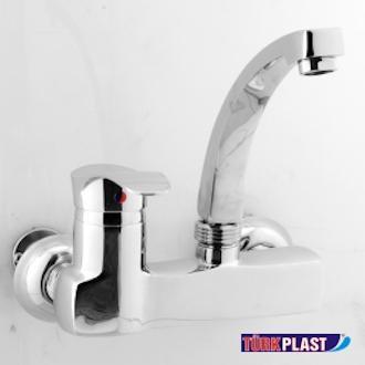 Ghazi Sink Mixer Fitting Turk Plast 100% Brass Chrome Finish