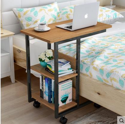 Wooden Laptop side Table for sofa & bed with Wheels Shelf Multi-Functional
