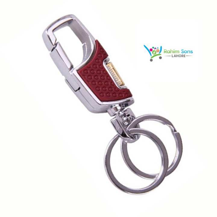 RS Omuda High Class Leather Hook Locking Key Chain Double Ring Metal Car Ring - (Brown)