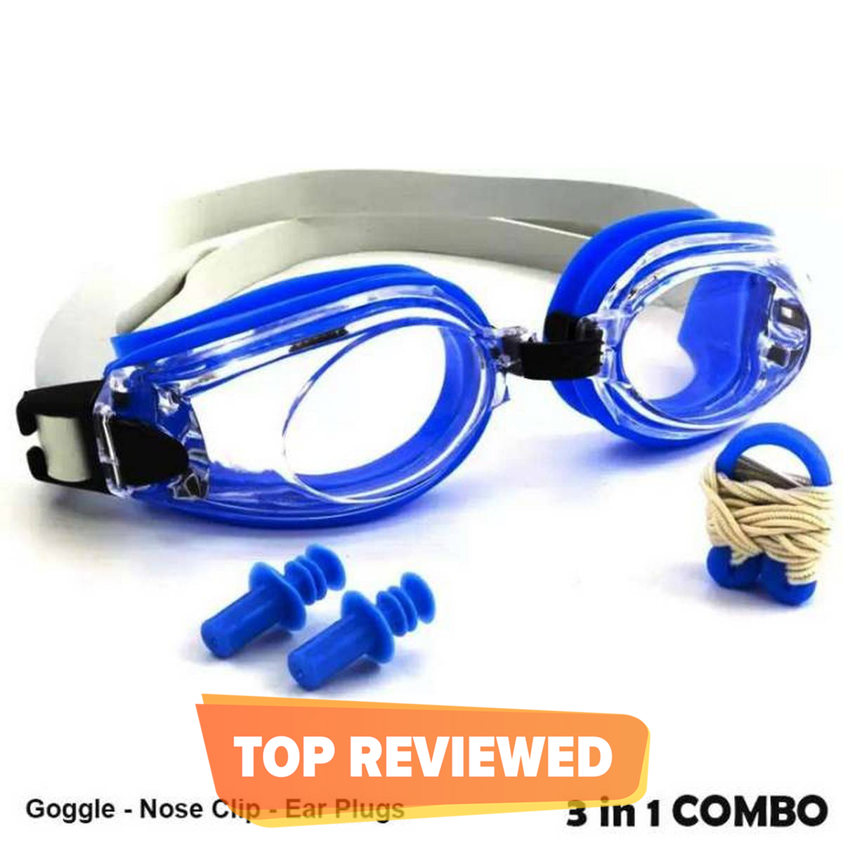 New 3 in 1  Men Women Waterproof Anti-fog Swimming Goggles Set Wide Protection UV Sight Adjustable Lenses with Nose Clip Ear Plug