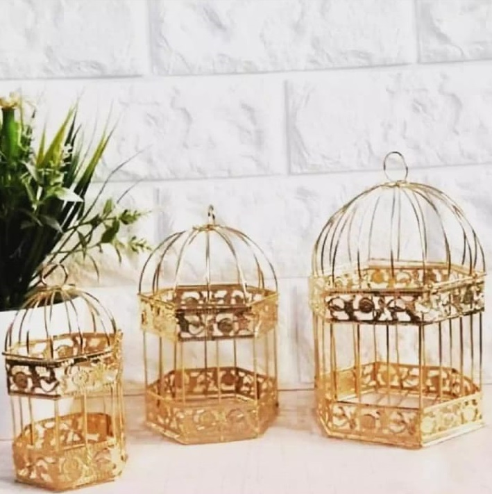 Premium Quality -Charming Jewelry Store-Pack Of 3 Fast Forward  White Metal Wedding Birdcage Gift Card Holder Centerpieces Vintage Wedding Cage Reception Pieces-Golden