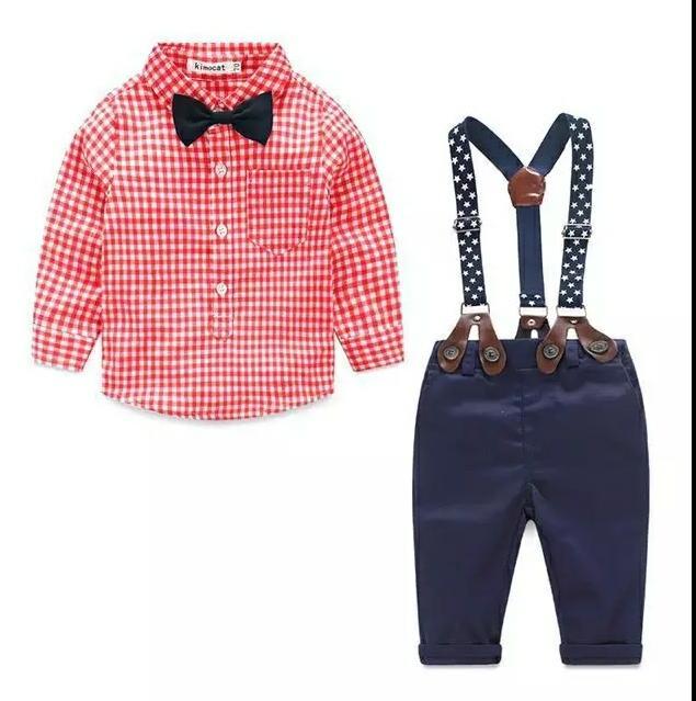 fashion kids clothes grid shirt + suspender newborn Long sleeve baby boy clothes Bowknot gentleman suit