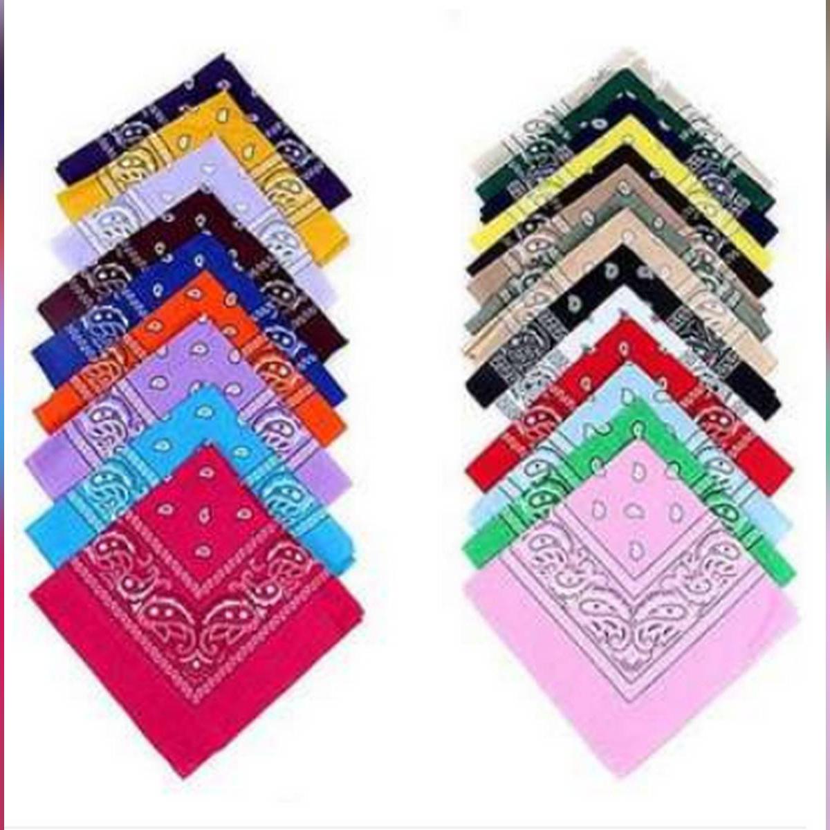Cool Cotton Lady Men Square Bandana Hiphop Head Wrap Scarf Wristband(Size:21.65 inch x 21.65 inch)