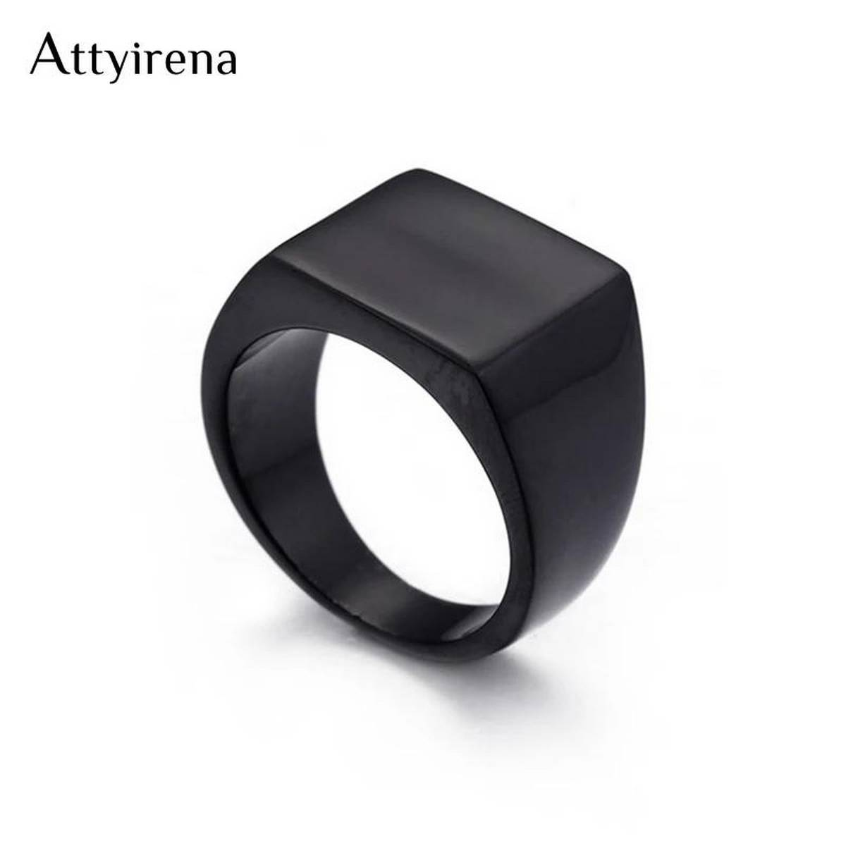 Hot Sale Fashion Men Simple Band Rings Square  Black Stainless Steel Personality Square Circle Finger Rings Jewelry