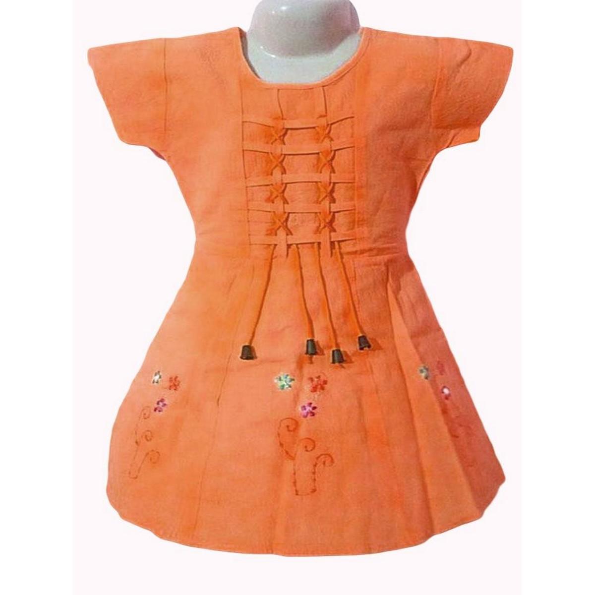 Wardrobe Desire Casual Wear Stone Washed Ruffle Frock for Girls-Orange-4 to 8 Years