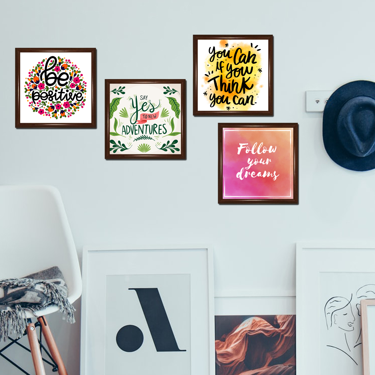 Set of 4 Wall Decor Picture Frames 8x8 inches Motivational Home Decor With Quotes / Images