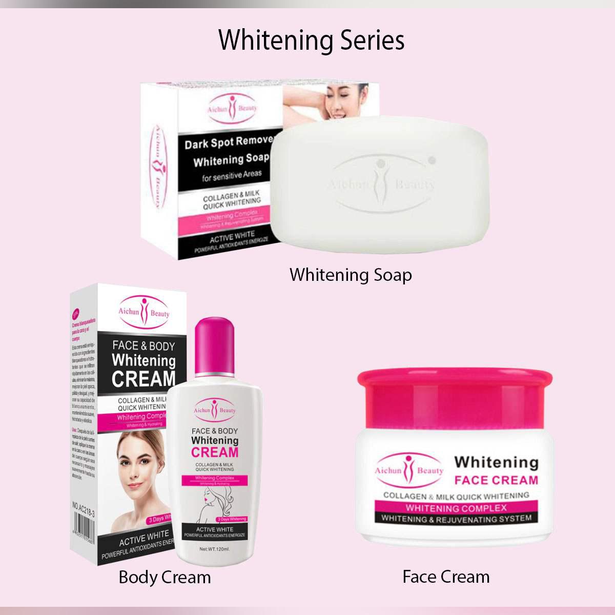 AICHUN BEAUTY ( 3 IN 1 ) Whitening Soap , Whitening Body , Whitening FaceCream Series